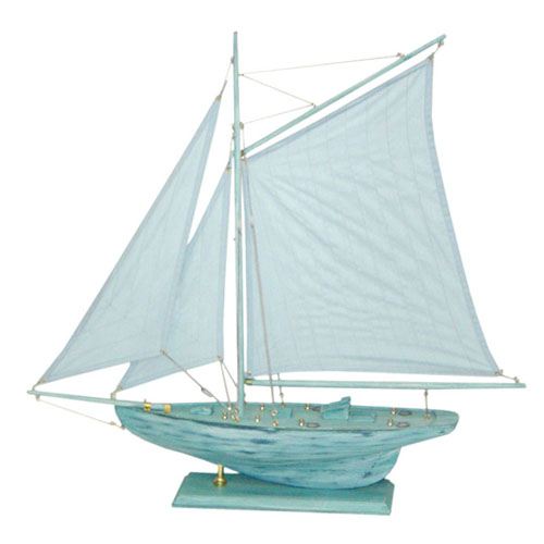 Blue Antique Wooden Sailing Boat