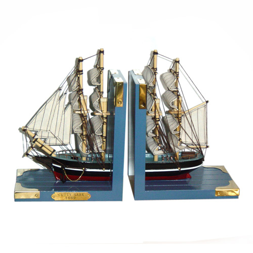 Wooden Sailing Boat Book End