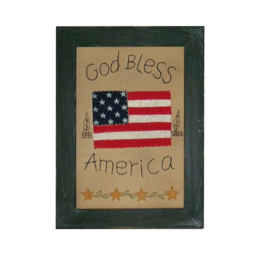 God Bless America Stitched Frame