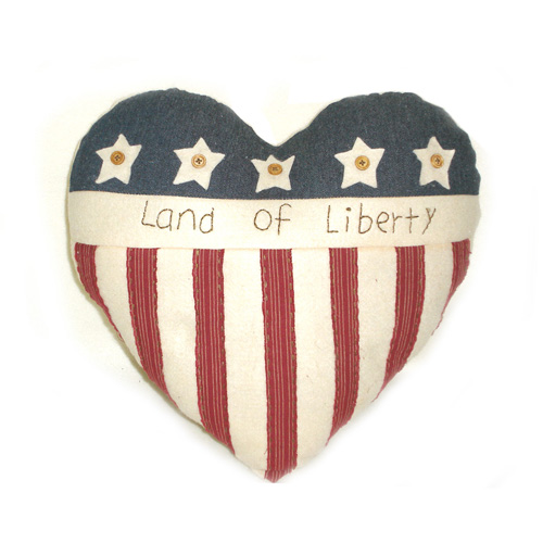Land Of Liberty Heart Pillow