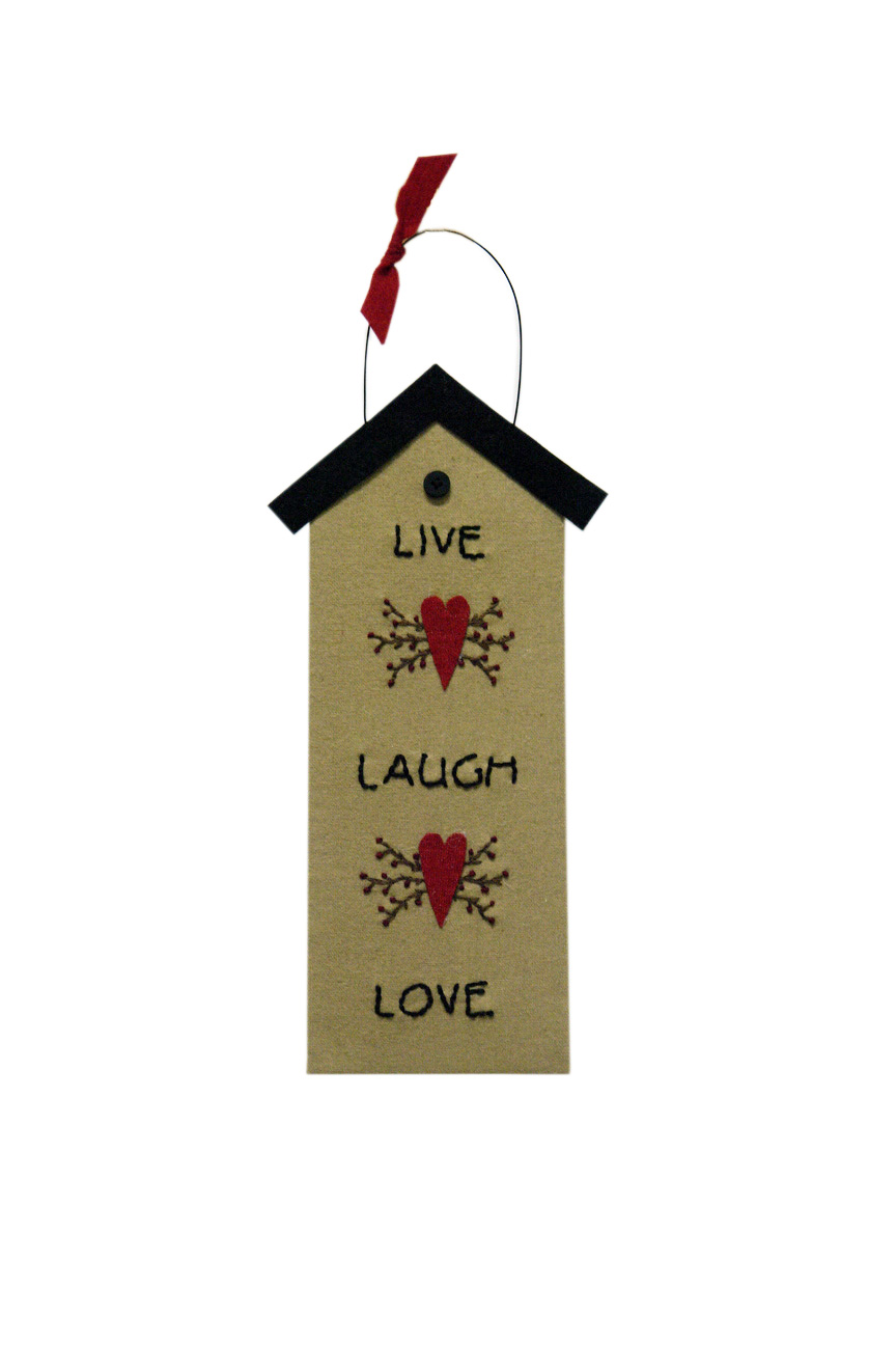 BIRDHOUSE LIVE LAUGH LOVE HANGING ORNAMENT