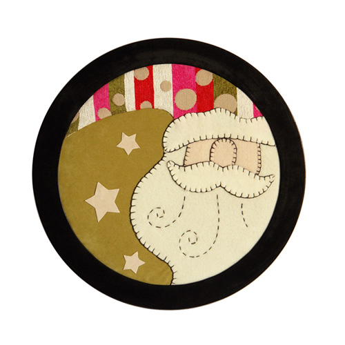 SANTA CLAUSE HEAD WITH STARS FRAME