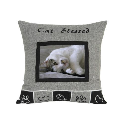 CAT BLESSED CUSHION WITH PHOTO WINDOW