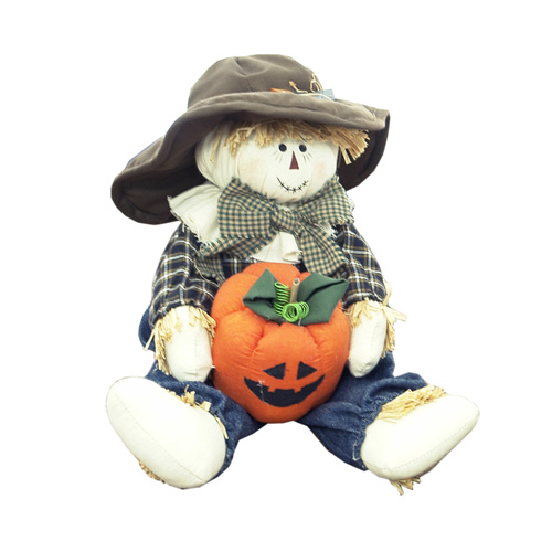 SITTING SCARECROW W/PUMPKIN IN HANDS SMALL