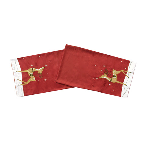GOLDEN REINDEER TABLE RUNNER