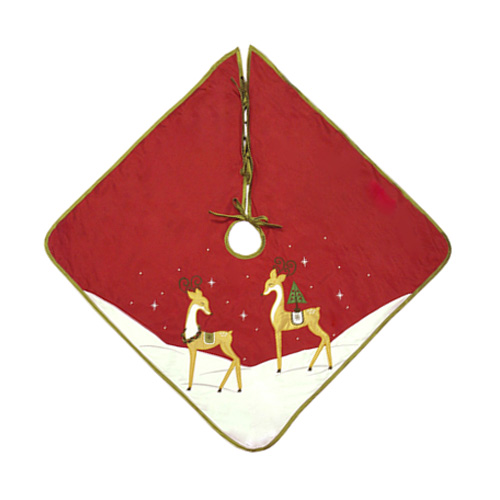 GOLDEN REINDEER TREE SKIRT