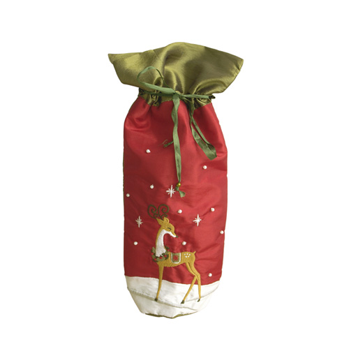GOLDEN REINDEER WINE BAG