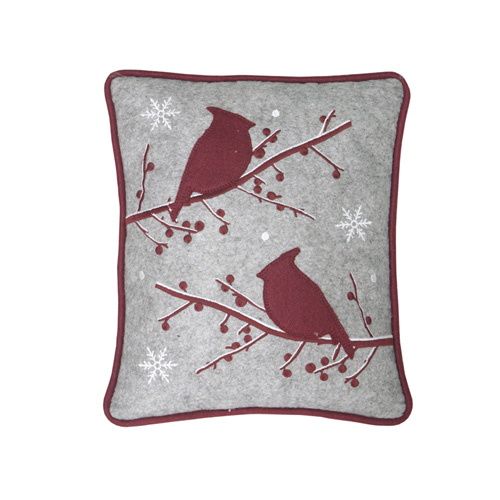 CHRISTMAS BERRY & BIRDS CUSHION