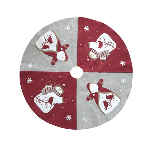 SANTA & SNOWMAN & BIRDS TREE SKIRT