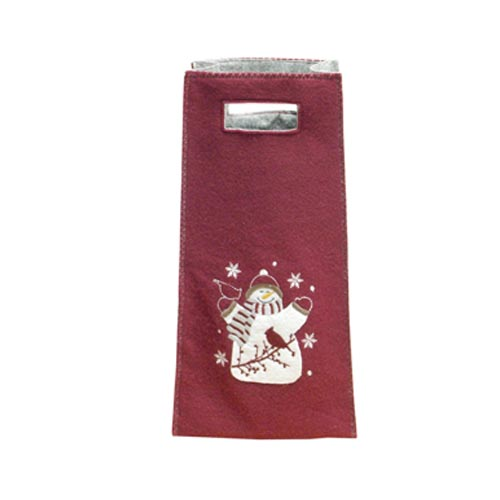 SNOWMAN & BIRDS WINE BAG