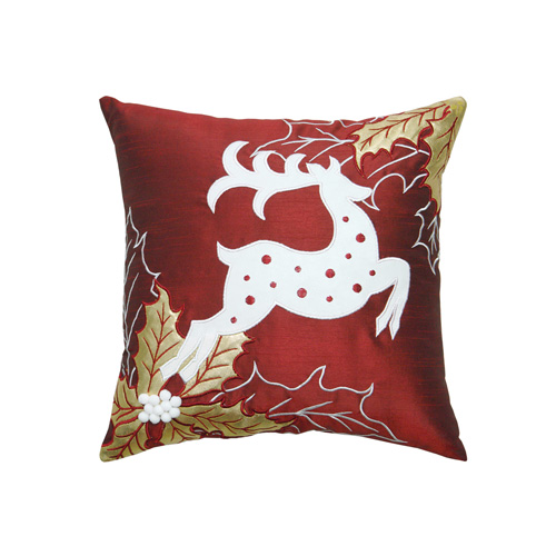 Reindeer & Christmas Leaf Cushion