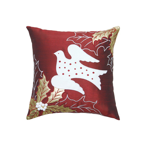 Dove & Christmas Leaf Cushion