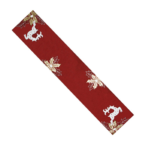 Reindeer & Christmas Leaf Table Runner