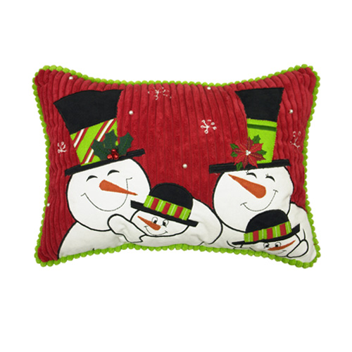 Happy Family Snowman Pillow