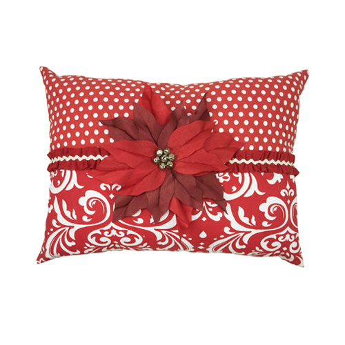 Poinsettia Damask Pillow