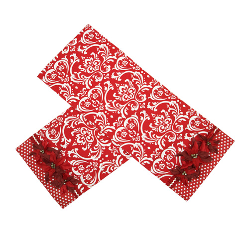 Poinsettia Damask Table Runner