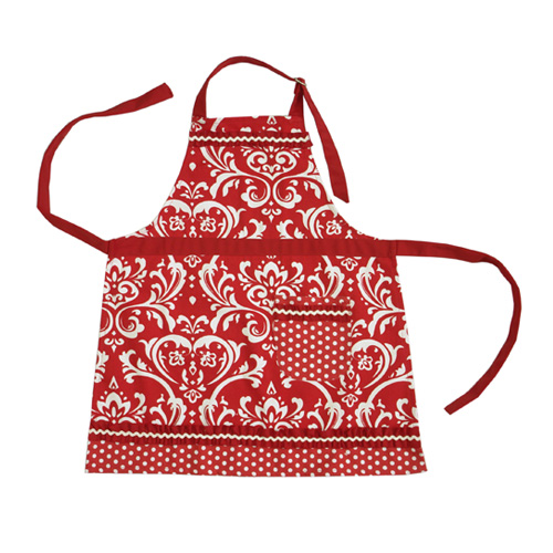 Red Damask Kids Apron