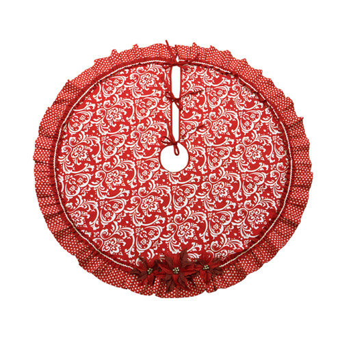 Poinsettia Damask Tree Skirt