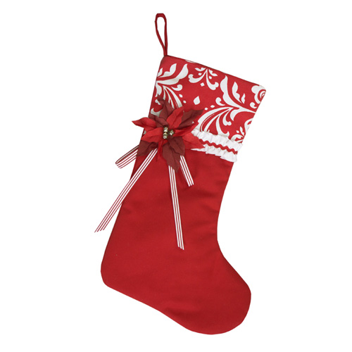 Poinsettia Damask Stocking