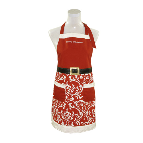 Red Damask Santa Oven Mitt